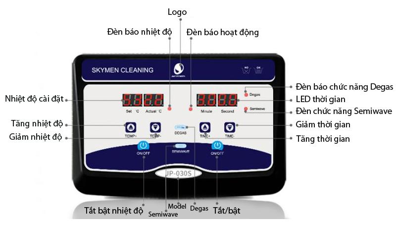 Bảng điều khiển Bể rửa siêu âm JP-100S