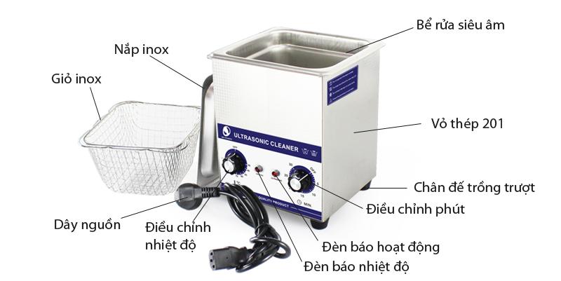 Giới thiệu Bể rửa siêu âm điều khiển cơ JP-010 2L